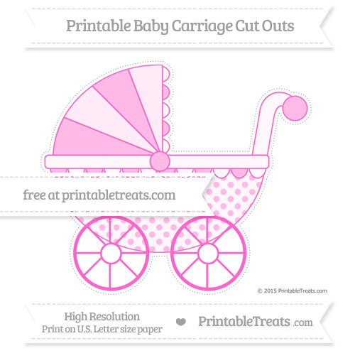 Free Rose Pink Polka Dot Extra Large Baby Carriage Cut Outs