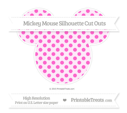 Free Rose Pink Polka Dot Extra Large Mickey Mouse Silhouette Cut Outs