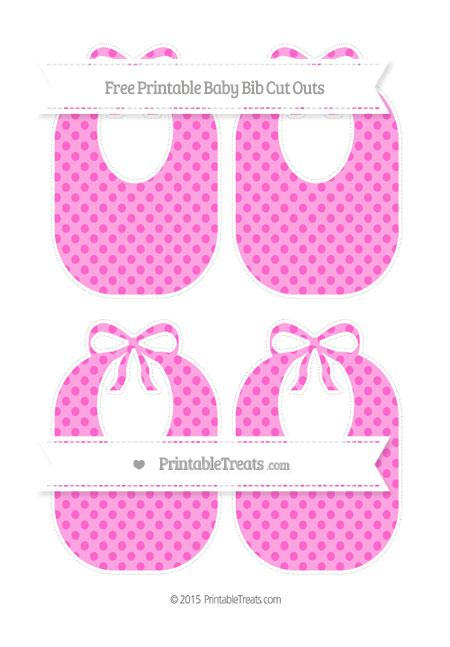 Free Rose Pink Polka Dot Medium Baby Bib Cut Outs