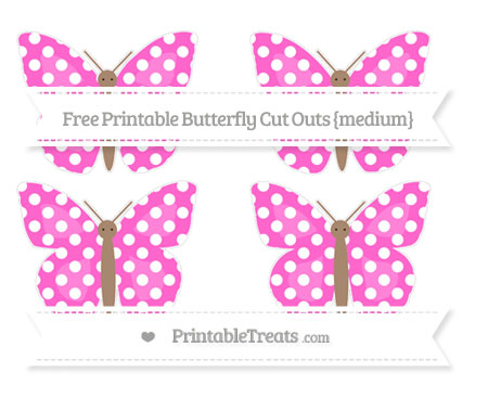 Free Rose Pink Polka Dot Medium Butterfly Cut Outs
