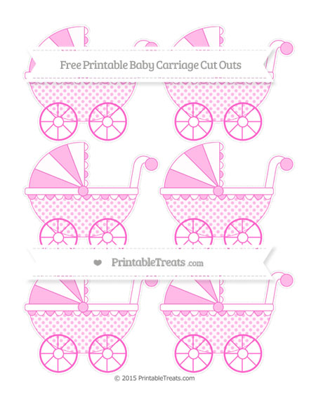 Free Rose Pink Polka Dot Small Baby Carriage Cut Outs