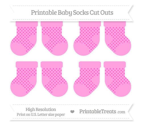 Free Rose Pink Polka Dot Small Baby Socks Cut Outs