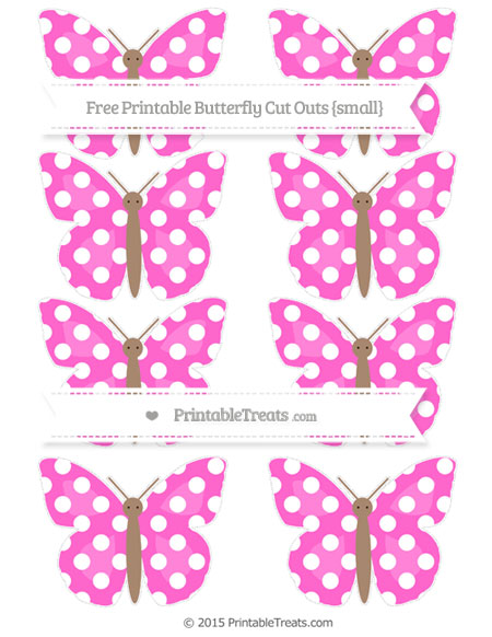 Free Rose Pink Polka Dot Small Butterfly Cut Outs