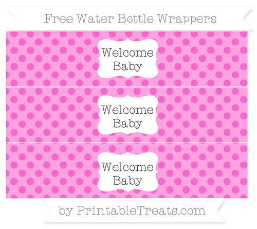 Free Rose Pink Polka Dot Welcome Baby Water Bottle Wrappers