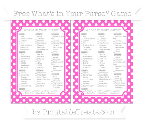 Free Rose Pink Polka Dot What's in Your Purse Baby Shower Game