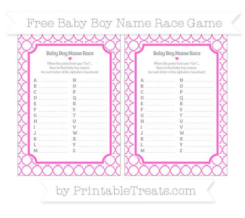 Free Rose Pink Quatrefoil Pattern Baby Boy Name Race Game