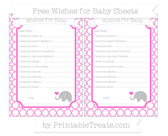 Free Rose Pink Quatrefoil Pattern Baby Elephant Wishes for Baby Sheets