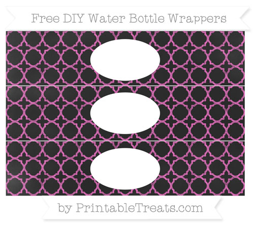 Free Rose Pink Quatrefoil Pattern Chalk Style DIY Water Bottle Wrappers