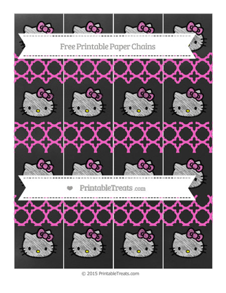 Free Rose Pink Quatrefoil Pattern Chalk Style Hello Kitty Paper Chains
