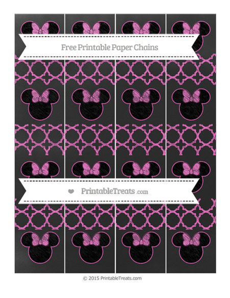 Free Rose Pink Quatrefoil Pattern Chalk Style Minnie Mouse Paper Chains