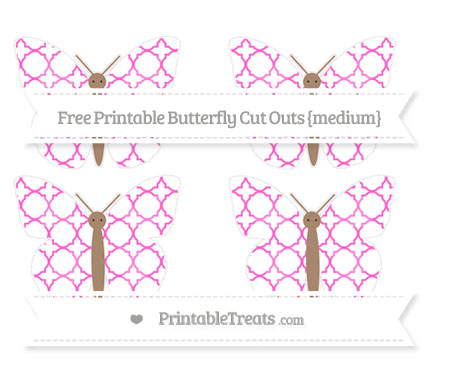 Free Rose Pink Quatrefoil Pattern Medium Butterfly Cut Outs