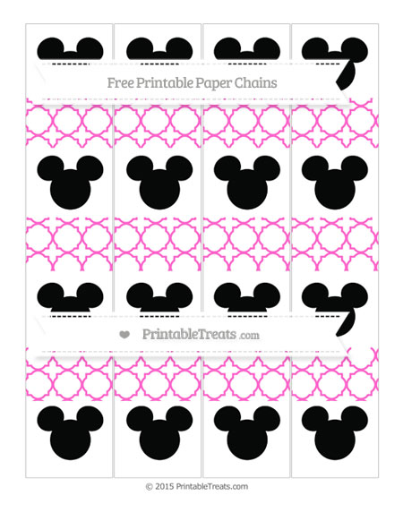 Free Rose Pink Quatrefoil Pattern Mickey Mouse Paper Chains