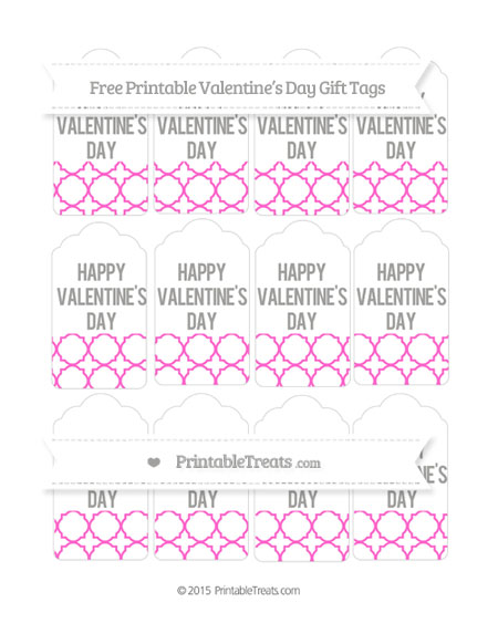 Free Rose Pink Quatrefoil Pattern Valentine's Day Gift Tags