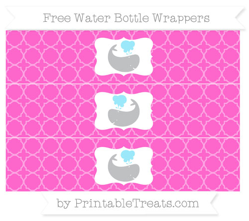 Free Rose Pink Quatrefoil Pattern Whale Water Bottle Wrappers