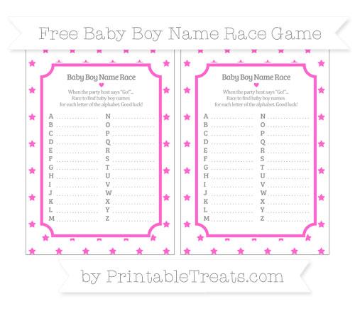 Free Rose Pink Star Pattern Baby Boy Name Race Game