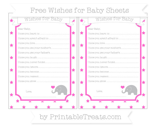 Free Rose Pink Star Pattern Baby Elephant Wishes for Baby Sheets