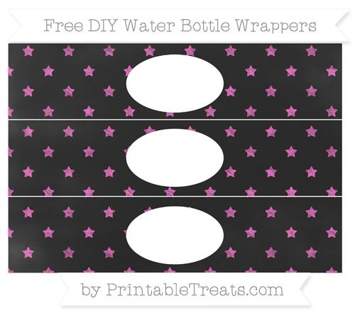 Free Rose Pink Star Pattern Chalk Style DIY Water Bottle Wrappers