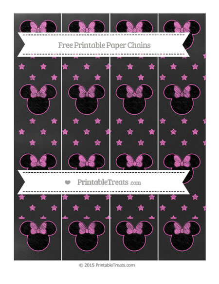 Free Rose Pink Star Pattern Chalk Style Minnie Mouse Paper Chains