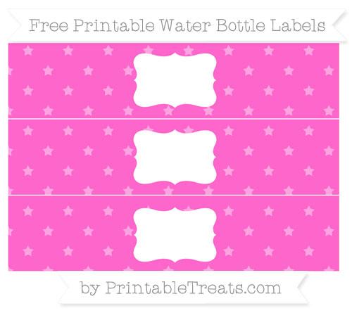 Free Rose Pink Star Pattern Water Bottle Labels