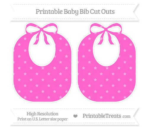 Free Rose Pink Star Pattern Large Baby Bib Cut Outs