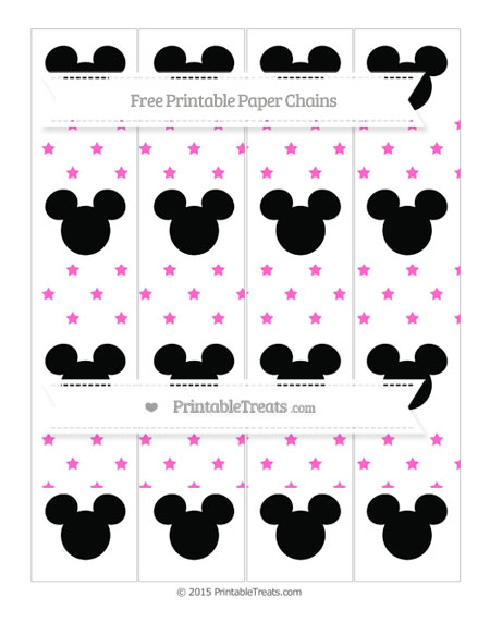 Free Rose Pink Star Pattern Mickey Mouse Paper Chains