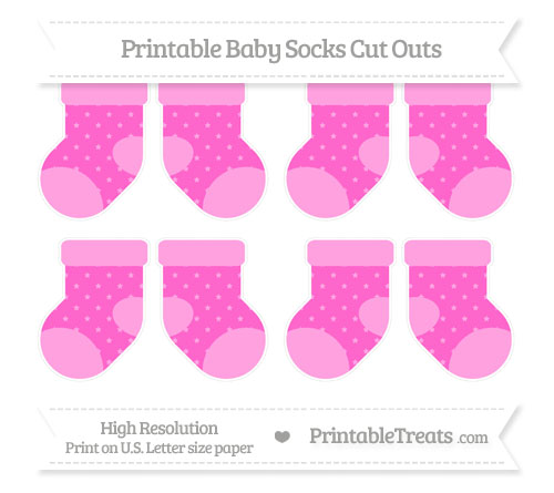 Free Rose Pink Star Pattern Small Baby Socks Cut Outs
