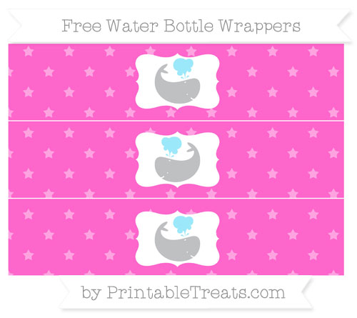 Free Rose Pink Star Pattern Whale Water Bottle Wrappers