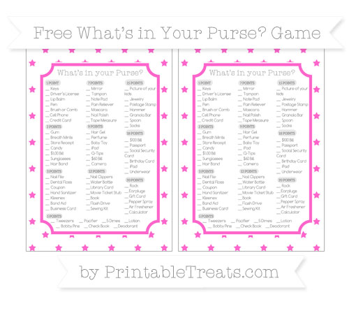 Free Rose Pink Star Pattern What's in Your Purse Baby Shower Game