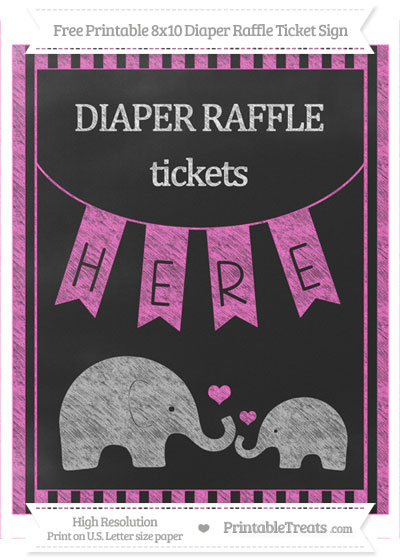 Free Rose Pink Striped Chalk Style Elephant 8x10 Diaper Raffle Ticket Sign