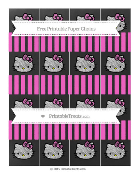 Free Rose Pink Striped Chalk Style Hello Kitty Paper Chains