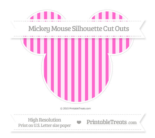 Free Rose Pink Striped Extra Large Mickey Mouse Silhouette Cut Outs