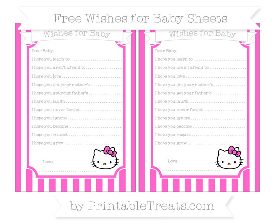 Free Rose Pink Striped Hello Kitty Wishes for Baby Sheets