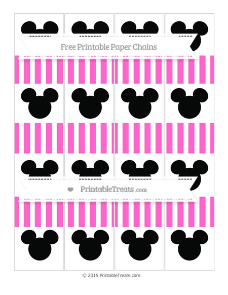Free Rose Pink Striped Mickey Mouse Paper Chains
