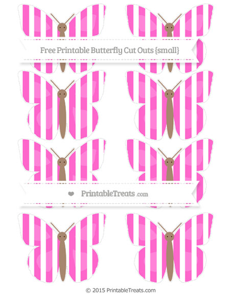 Free Rose Pink Striped Small Butterfly Cut Outs