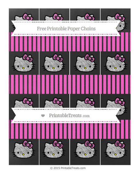 Free Rose Pink Thin Striped Pattern Chalk Style Hello Kitty Paper Chains