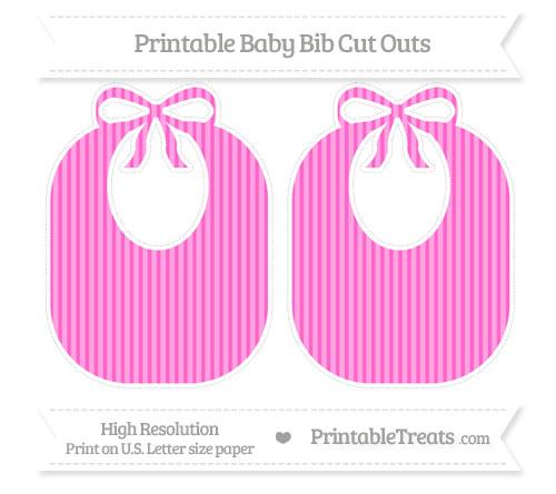 Free Rose Pink Thin Striped Pattern Large Baby Bib Cut Outs