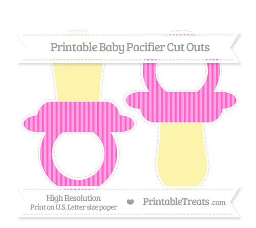 Free Rose Pink Thin Striped Pattern Large Baby Pacifier Cut Outs