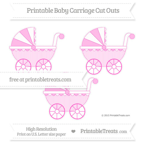 Free Rose Pink Thin Striped Pattern Medium Baby Carriage Cut Outs