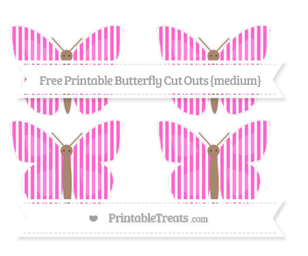 Free Rose Pink Thin Striped Pattern Medium Butterfly Cut Outs