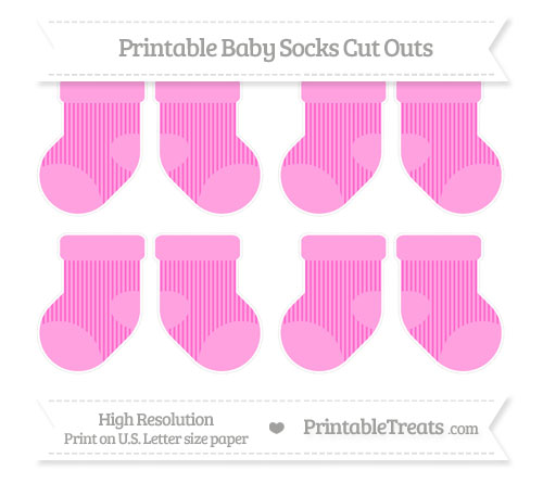 Free Rose Pink Thin Striped Pattern Small Baby Socks Cut Outs