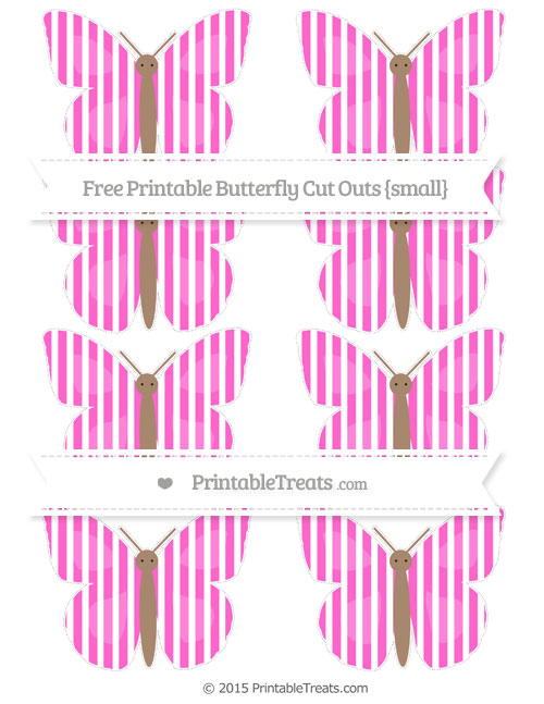 Free Rose Pink Thin Striped Pattern Small Butterfly Cut Outs