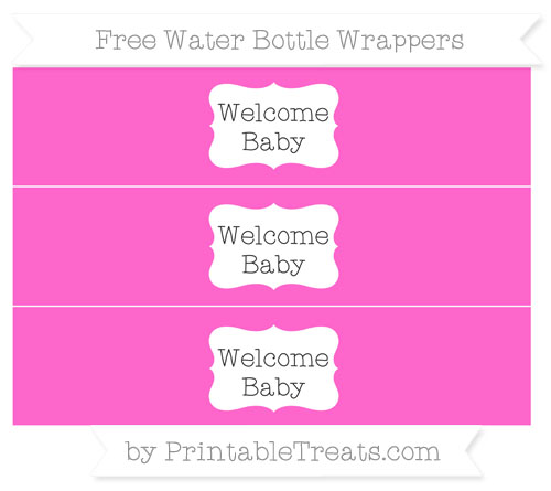 Free Rose Pink Welcome Baby Water Bottle Wrappers
