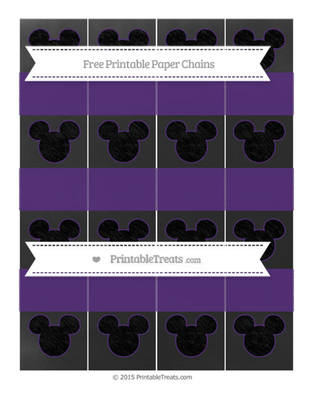 Free Royal Purple Chalk Style Mickey Mouse Paper Chains
