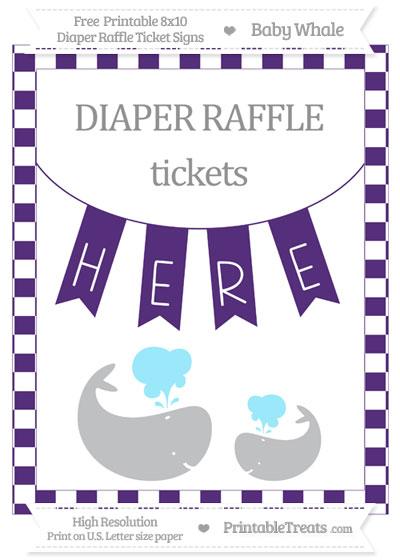 Free Royal Purple Checker Pattern Baby Whale 8x10 Diaper Raffle Ticket Sign