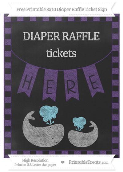 Free Royal Purple Checker Pattern Chalk Style Baby Whale 8x10 Diaper Raffle Ticket Sign
