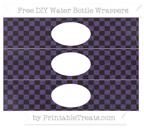 Free Royal Purple Checker Pattern Chalk Style DIY Water Bottle Wrappers