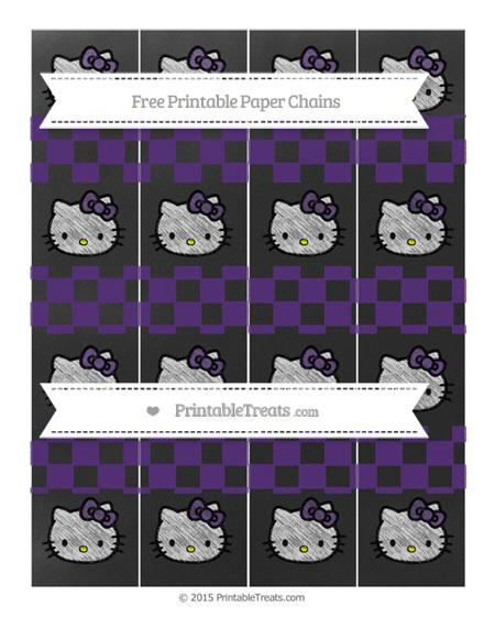 Free Royal Purple Checker Pattern Chalk Style Hello Kitty Paper Chains