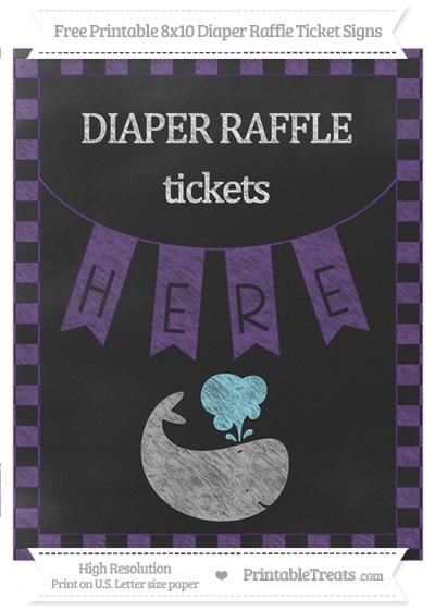 Free Royal Purple Checker Pattern Chalk Style Whale 8x10 Diaper Raffle Ticket Sign