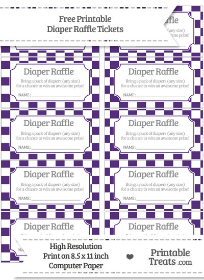Free Royal Purple Checker Pattern Diaper Raffle Tickets