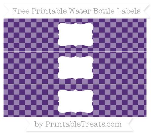 Free Royal Purple Checker Pattern Water Bottle Labels